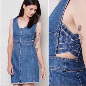 Pacsun frayed denim button down mini dress small